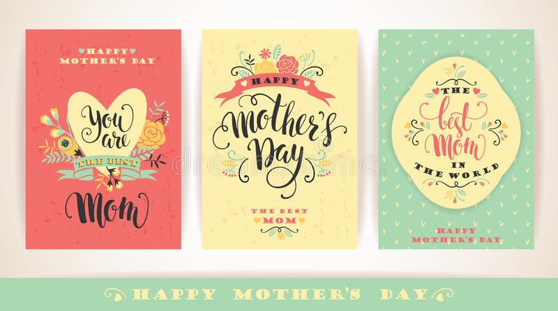 Set of Happy Mothers Day lettering greeting cards with Flowers. stock illustration