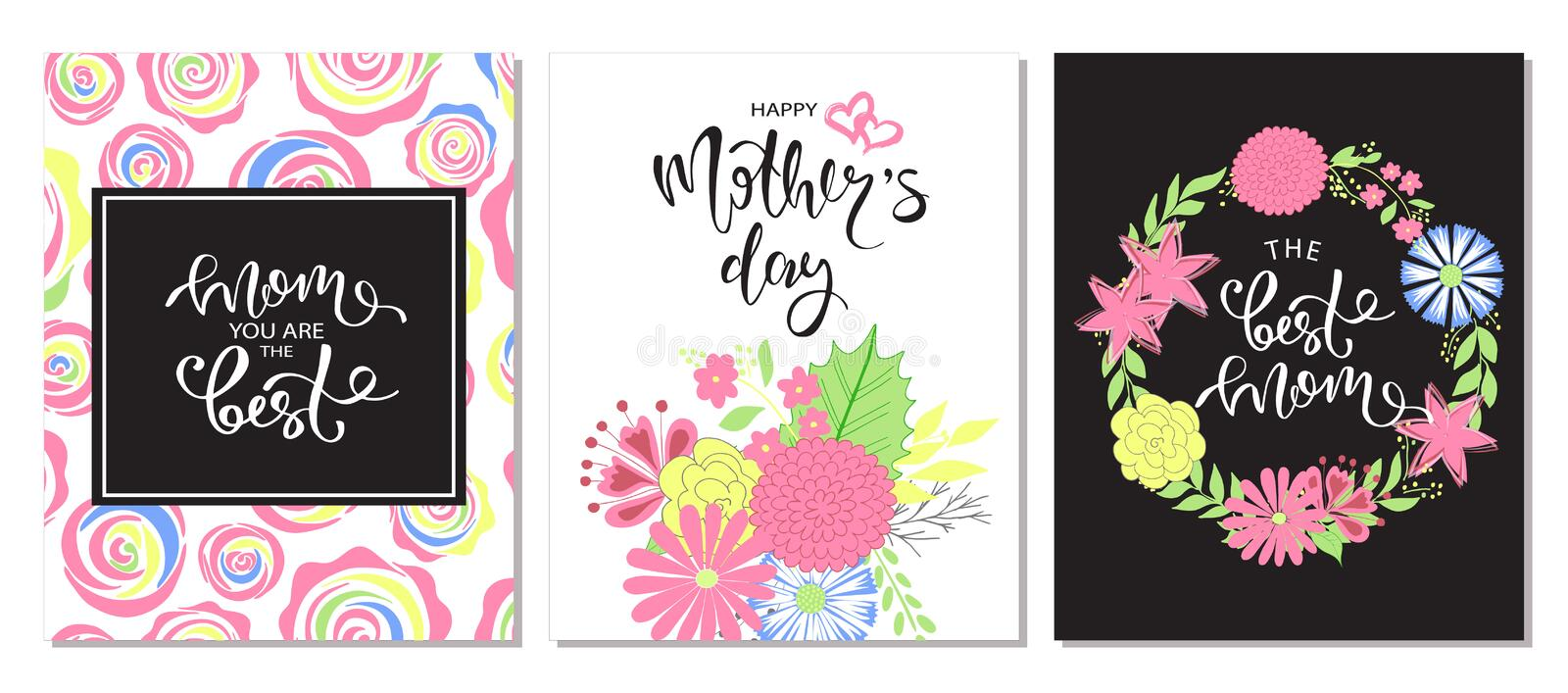 Set of Happy Mothers Day lettering greeting cards with Flowers. Vector illustration. royalty free illustration