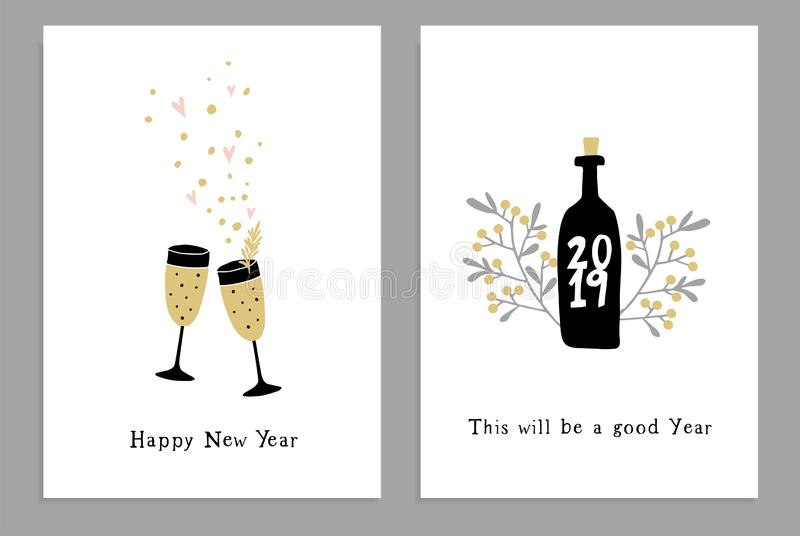 Set of Happy New Year greeting cards, party invitations with hand drawn wine glasses, bottle and confetti stars royalty free illustration
