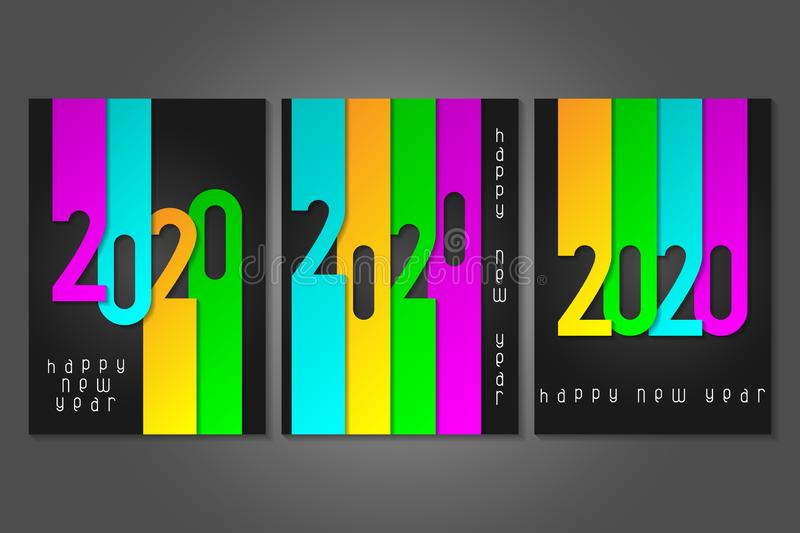 Set of Happy New Year 2020 posters with numbers cut out of colored paper. Winter holidays greeting or invitation. royalty free stock images