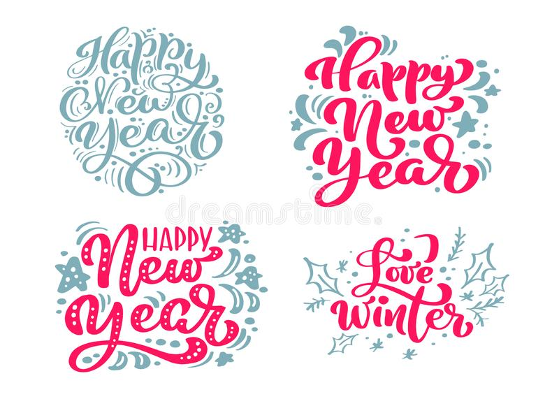 Set Happy New Year vector text Calligraphic Lettering Merry Christmas design card template. Creative typography for vector illustration