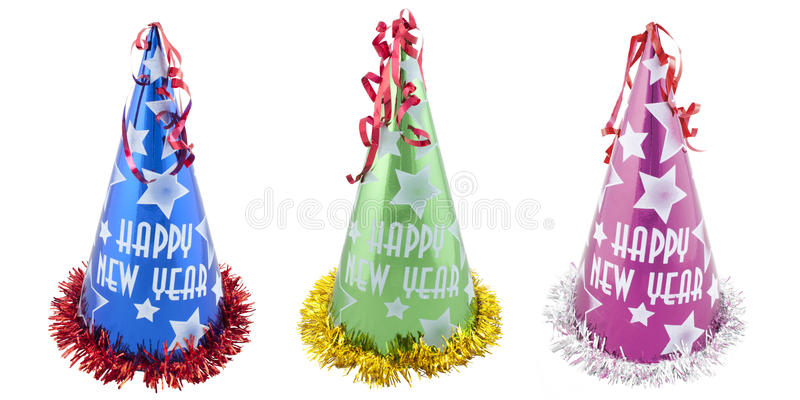 Set of Happy New Years party hats. Isolated on white background. with PS paths stock image