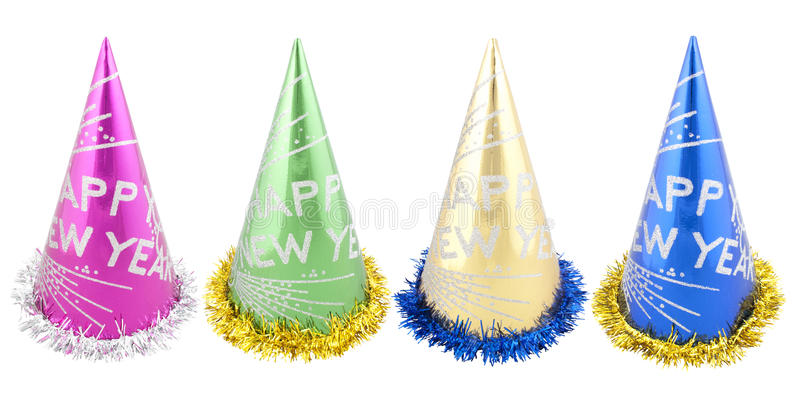 Set of Happy New Years party hats. Isolated on white background. with PS paths stock photos