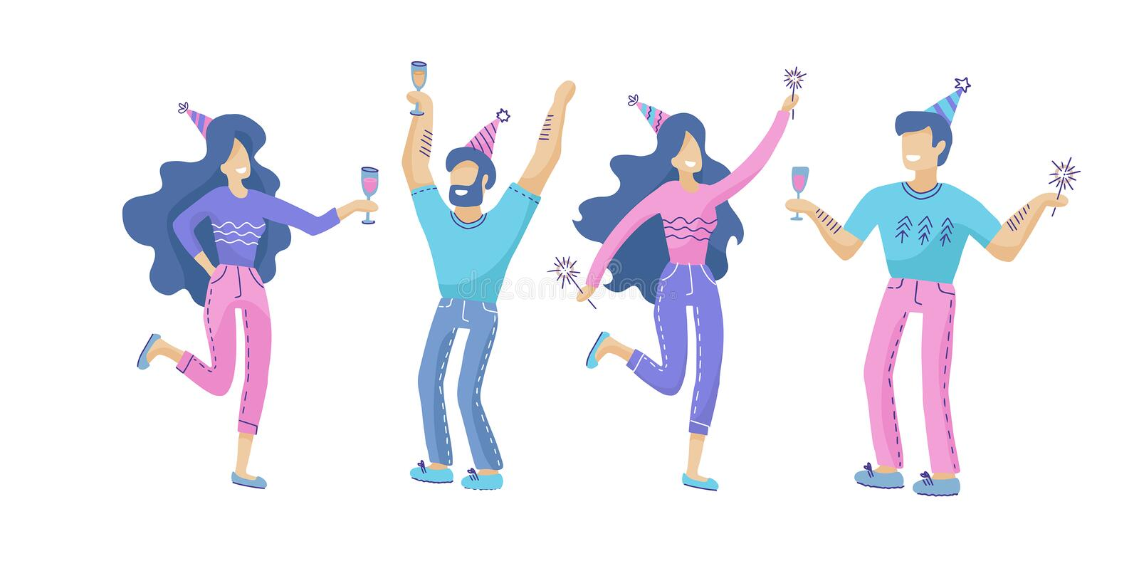 Set of happy people at a festive party. Positive men and women with champagne and sparklers dancing and having fun. collection of vector illustration