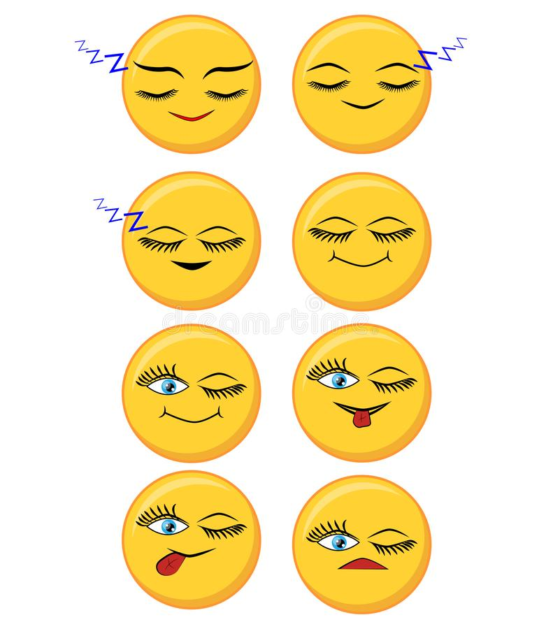 Set of happy, smile, laughing, joyful, sad, angry and crying faces yellow emoticons royalty free illustration