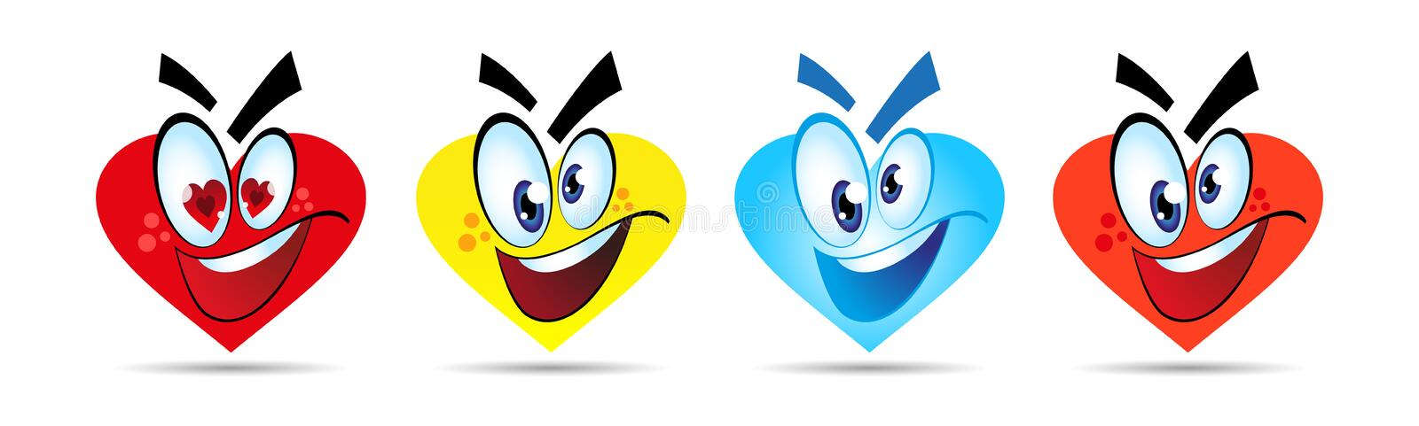 Set of happy smiles in the form of a heart. Cartoon character. Vector stock illustration