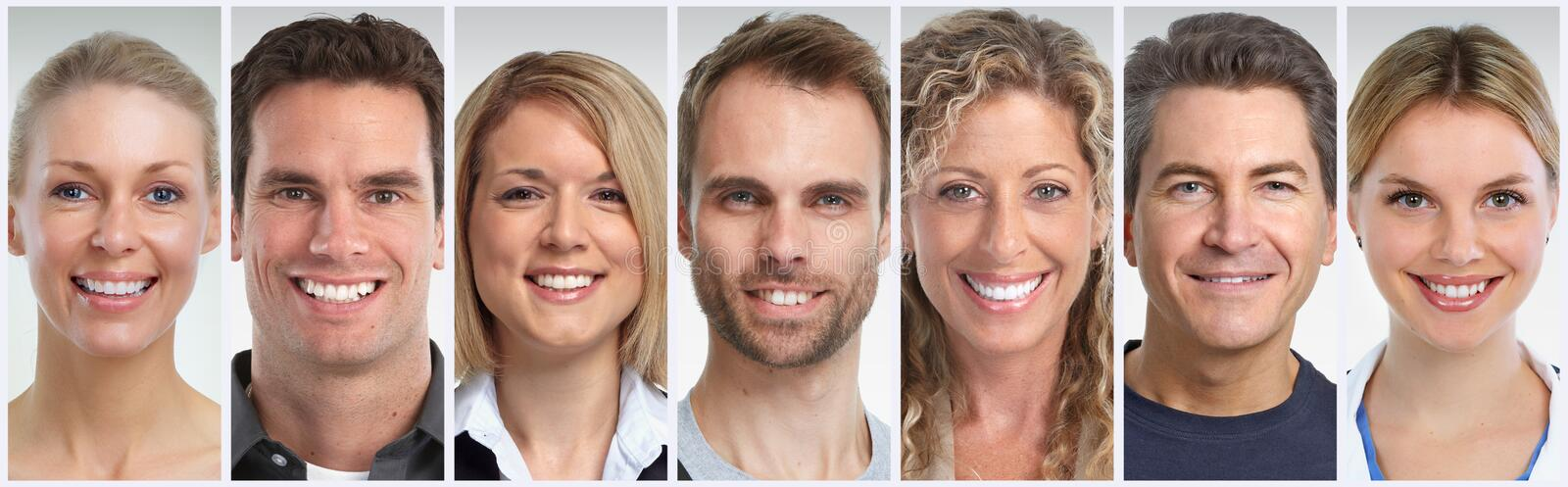 Smiling people faces set royalty free stock photos