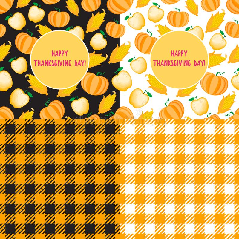 Set Happy Thanksgiving Day card. Cartoon ear of corn seamless pattern. Vector ilustration isolated. Cell background stock illustration