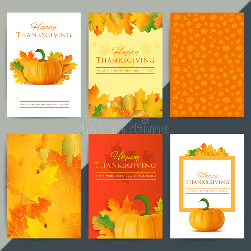 Set of happy thanksgiving day greeting card. Autumn holiday vector background. Pumpkin with fall leaves decoration and text. stock illustration