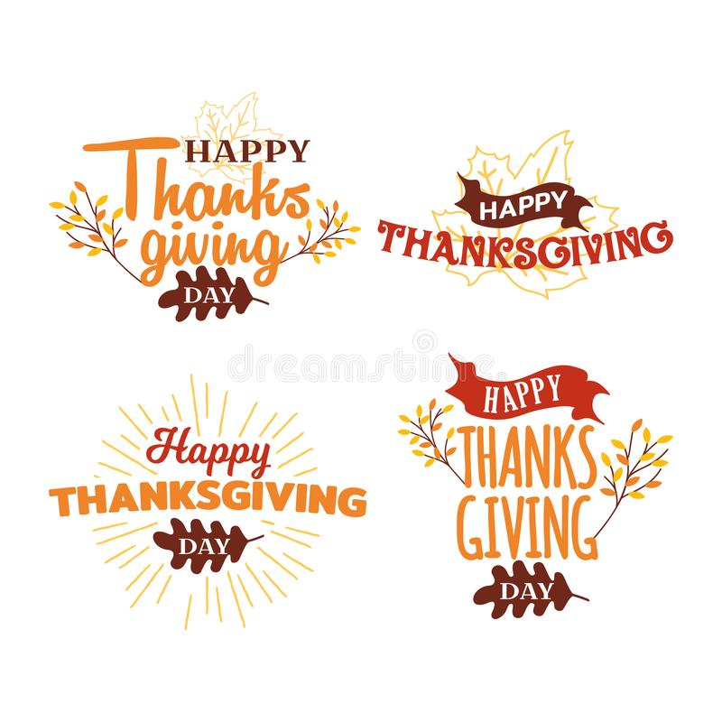 Set of happy thanksgiving day typography with autumn fall twigs tree illustration. Logo, badge, sticker, banner, card vector stock illustration