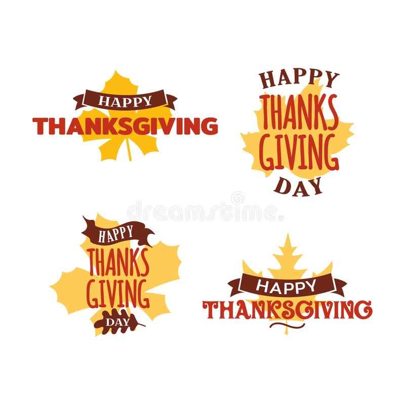 Set of happy thanksgiving day typography text with dried leave background. Autumn fall concept design. Logo, badge, sticker, icon vector illustration