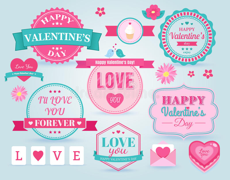 Set Of Happy Valentine\'s Day Badges And Labels Stock Vector ...