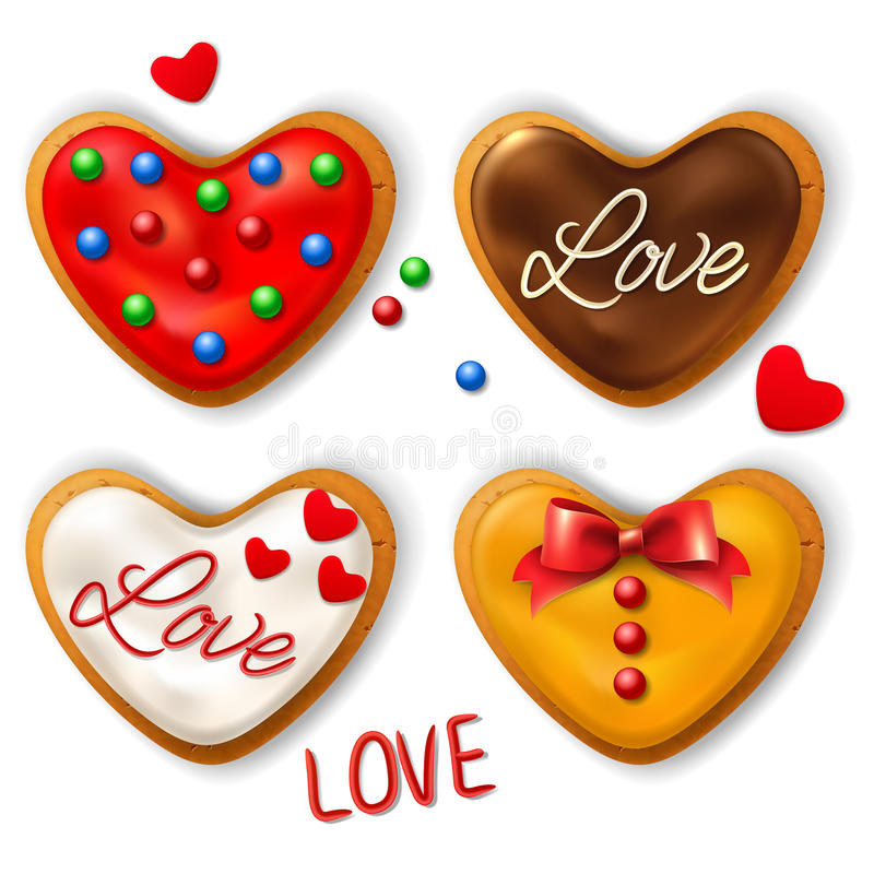Set of Happy Valentine's day cookie. In the shape of a heart with decorative elements vector illustration