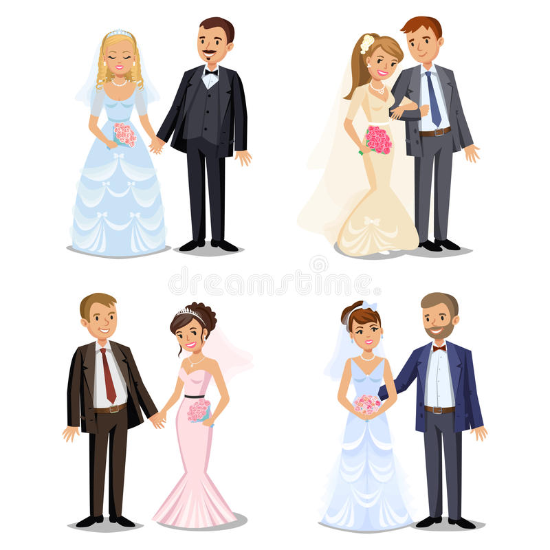 Set of Happy wedding couples. Different types Wedding couple vector illustration