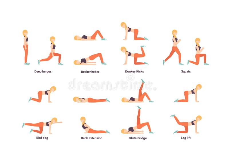 Set happy girl doing sport exercise royalty free illustration
