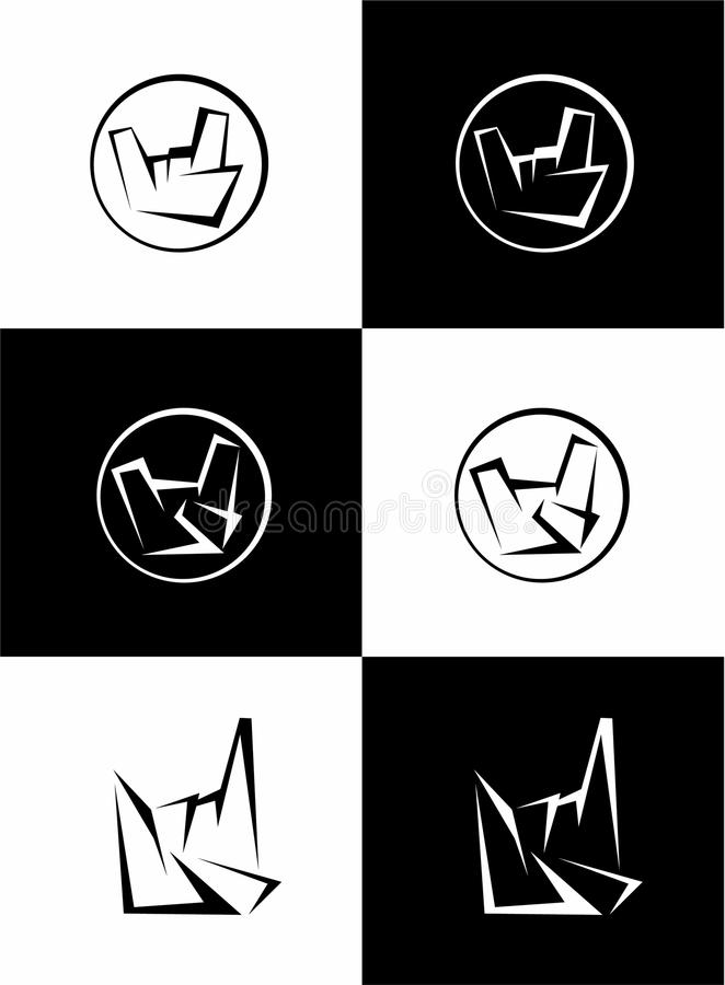Set of hard rock, heavy metal signs, sign of the horns, rock sign hand, rock vector logo. royalty free illustration