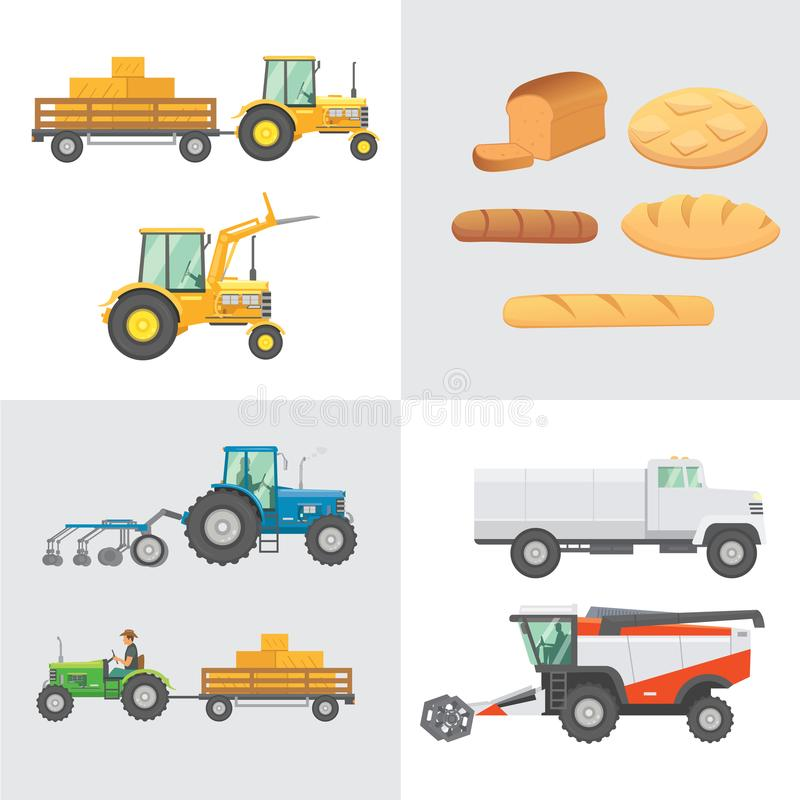 Set harvest vector. Agricultural machinery, farm vehicle and collection bread production. Tractors, harvester, combine stock illustration