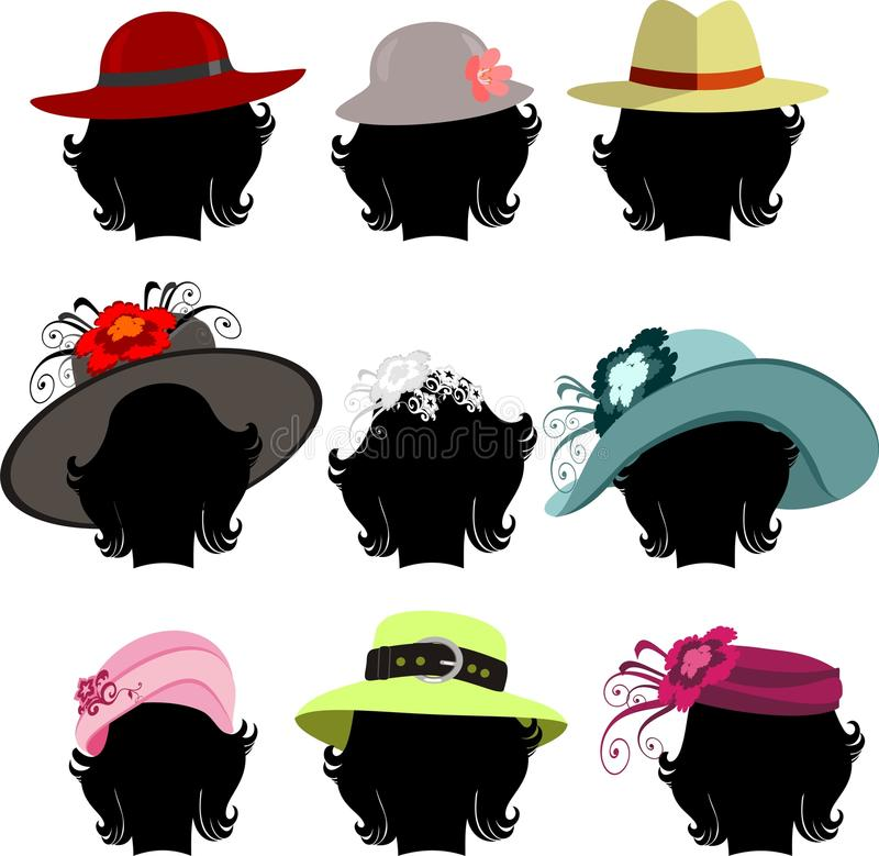 Set of hats royalty free illustration
