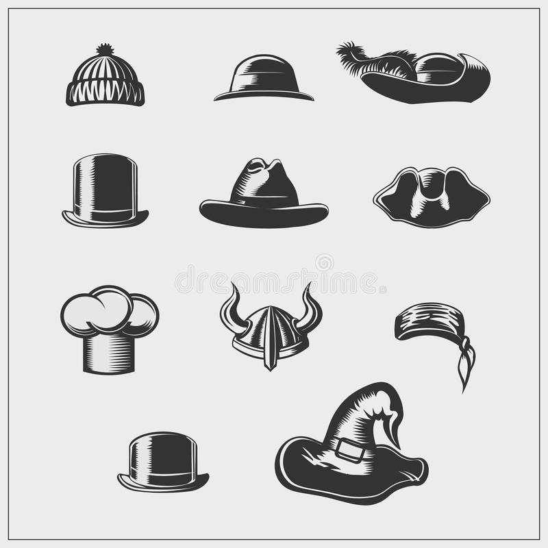 Set of hats. Vector illustration. stock illustration