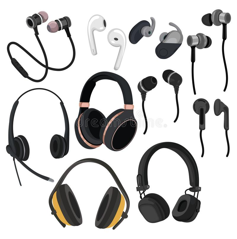 Set of headphones. Collection of various devices for listening to music. Colored vector illustration for the store. Set of headphones. Collection of various vector illustration