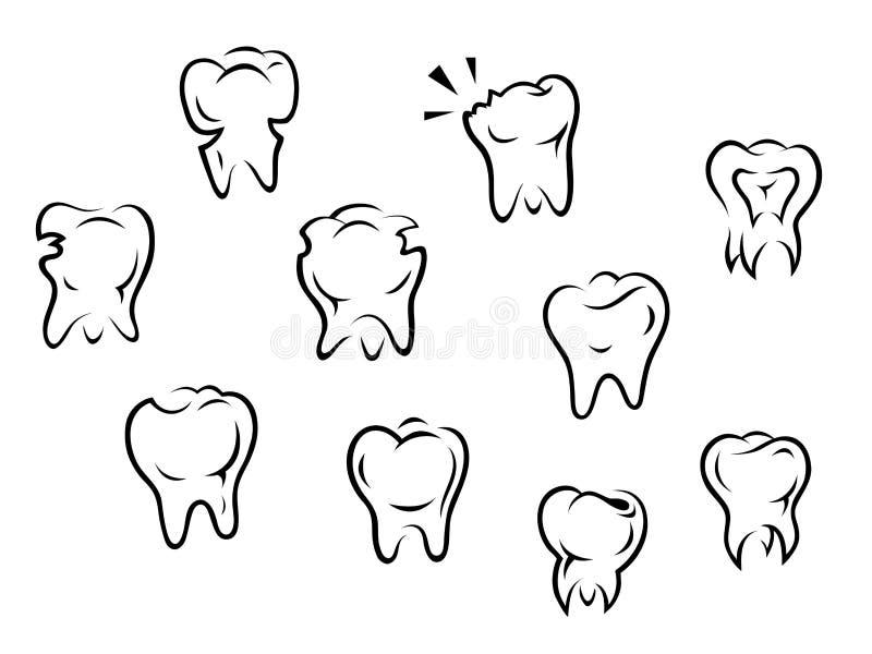 Set of health and illness teeth royalty free stock photos