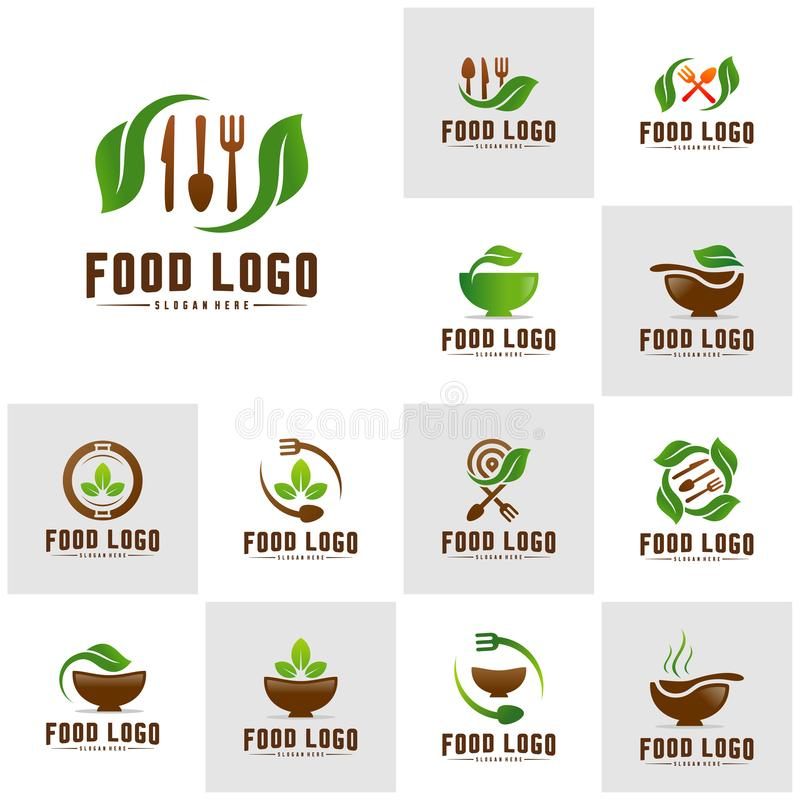Set of Healthy Food Logo Concept Template. Nature Food logo Vector. Icon Symbol royalty free illustration