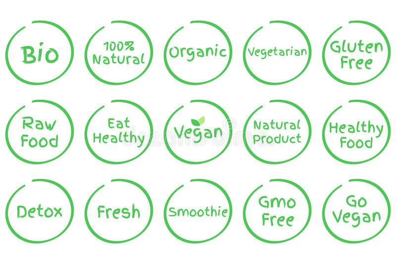 Set of Healthy Food vector symbols. Vegan, Bio, Organic, Fresh etc. Set of Healthy Food Symbols. Vector Bio 100% Natural Organic Vegetarian Gluten Free Raw Food stock illustration