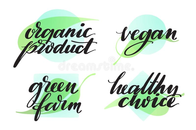 Set of healthy organic farming words. Hand drawn creative calligraphy and brush pen lettering. Food label or sticker set royalty free illustration