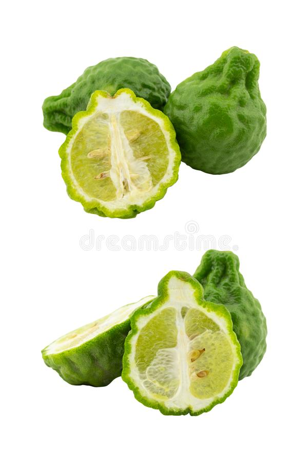 Set of heap kaffir lime isolated on white background royalty free stock images