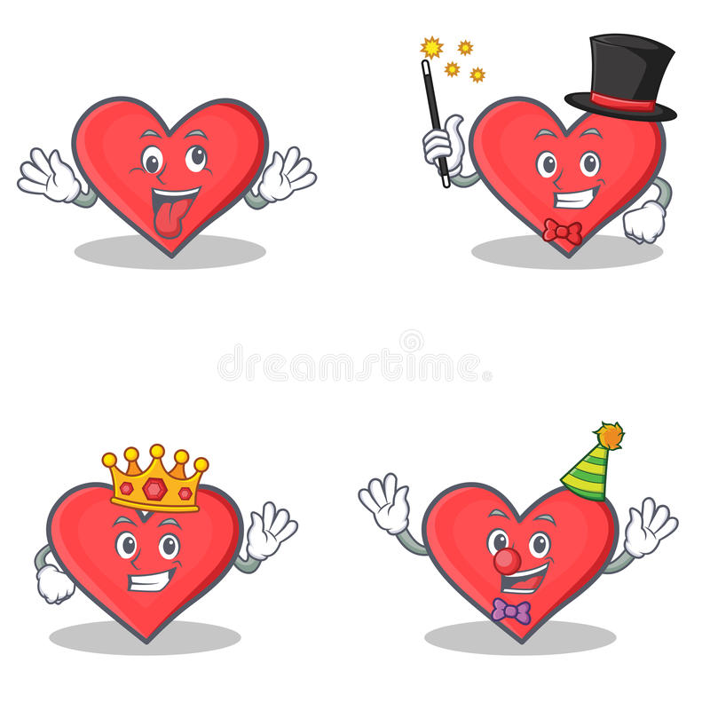 Set of heart character with crazy magician king clown royalty free illustration