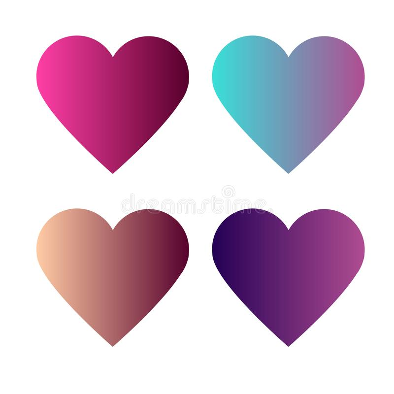 Set of 4 heart with colorful gradients stock illustration