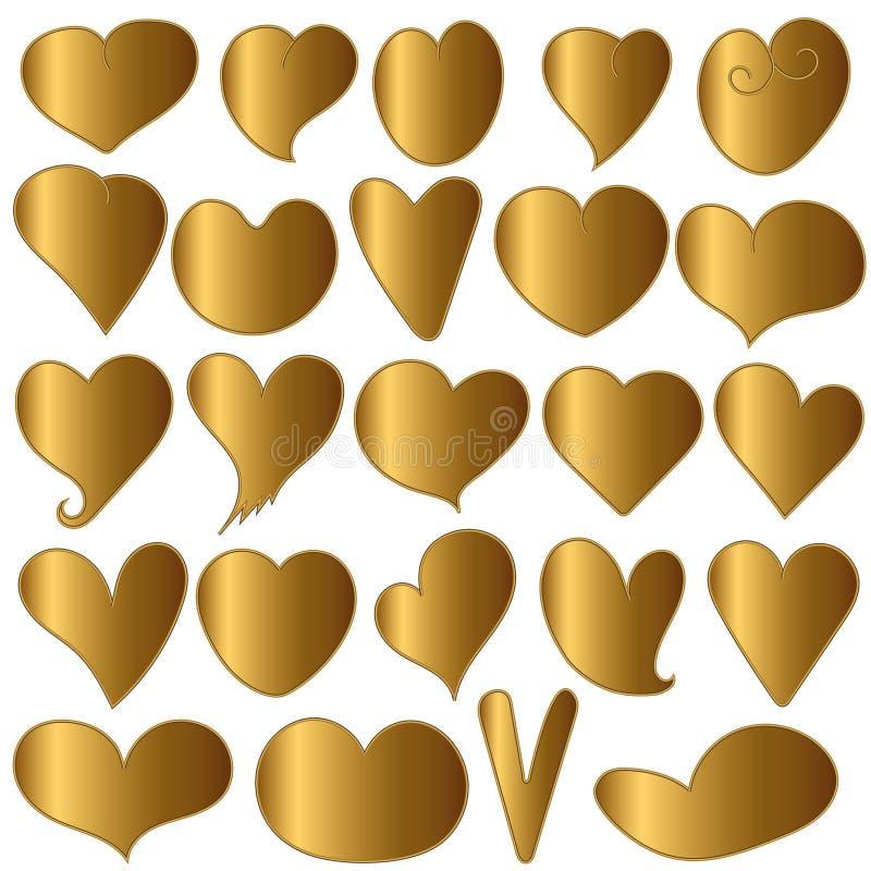 Set Heart gold - vector. Set Heart gold on a white background vector illustration