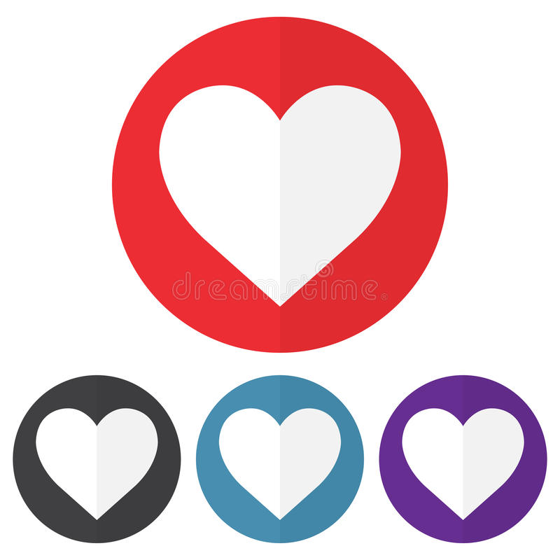 Set of heart icon on a colorful circles. Vector illustration royalty free illustration
