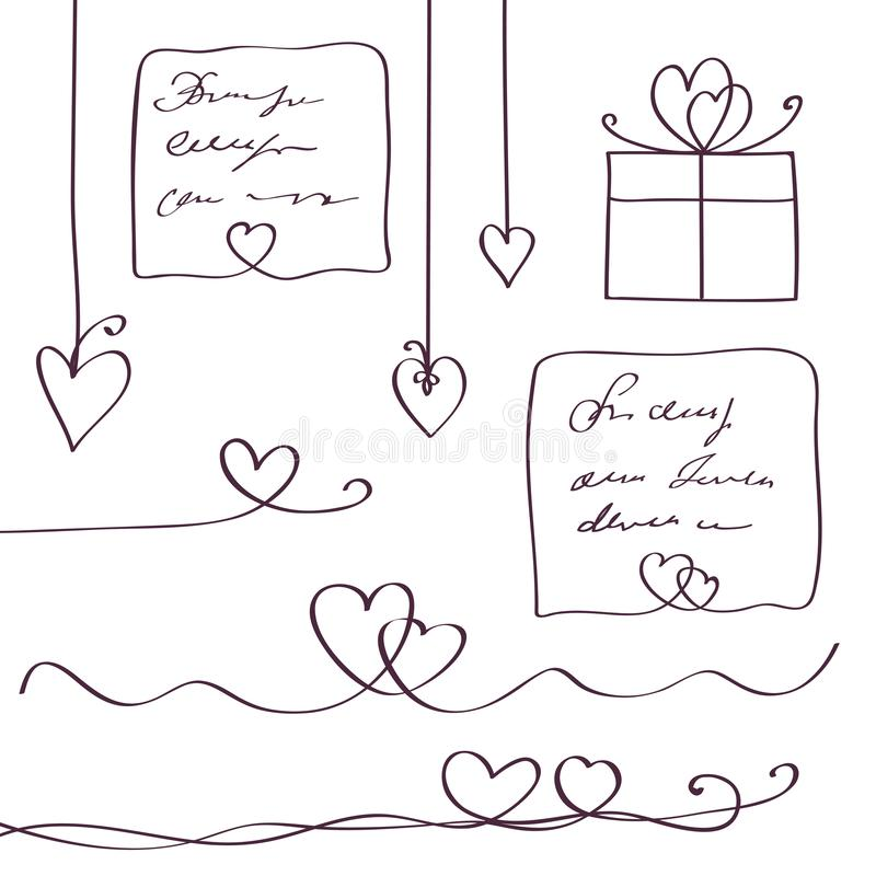 Set of heart line design elements. Scribble style. Continuous line art drawing. Vector illustration stock illustration