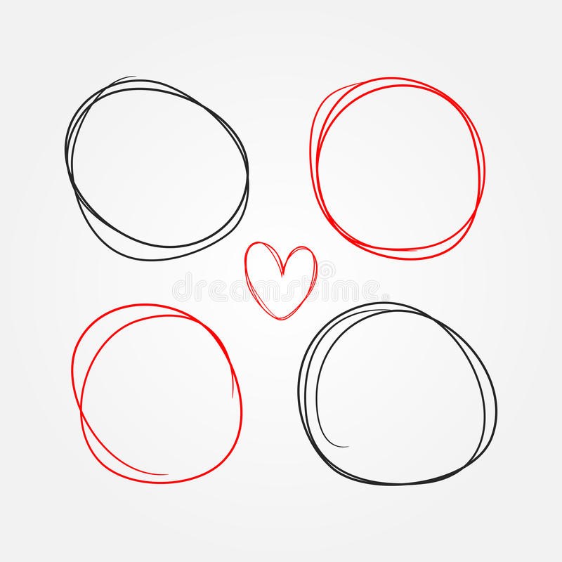 Set of heart and round frames painted by hand. Sketch, doodle, scribble. Black and red isolated elements. Vector illustration stock illustration