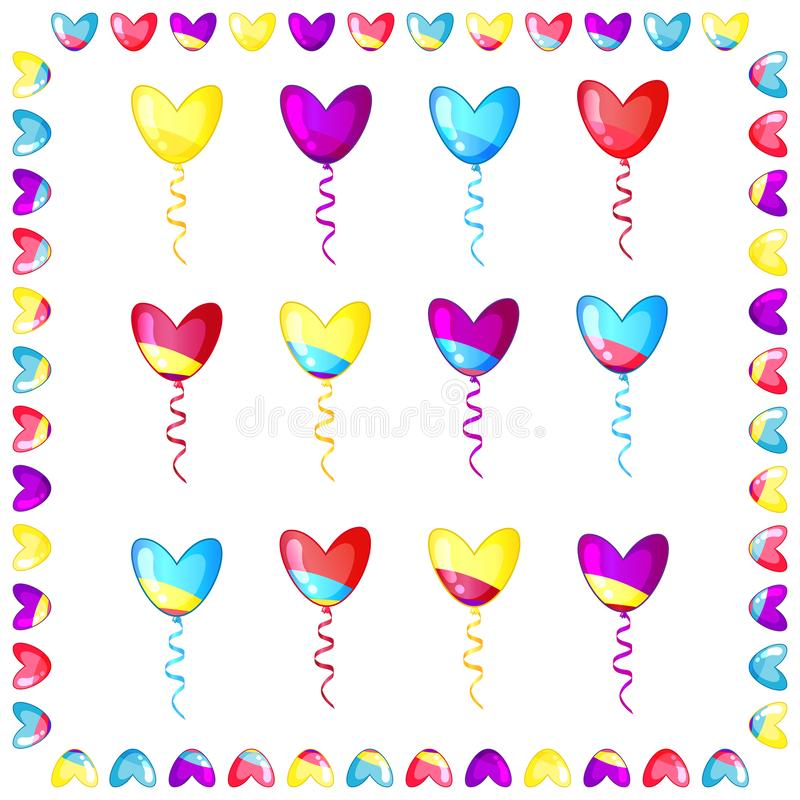 Set of heart shaped colorful balloons with frame isolated on white royalty free illustration