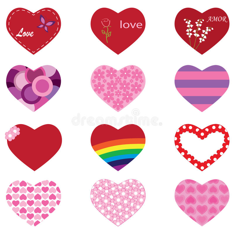 Set of hearts. Of different designs stock illustration