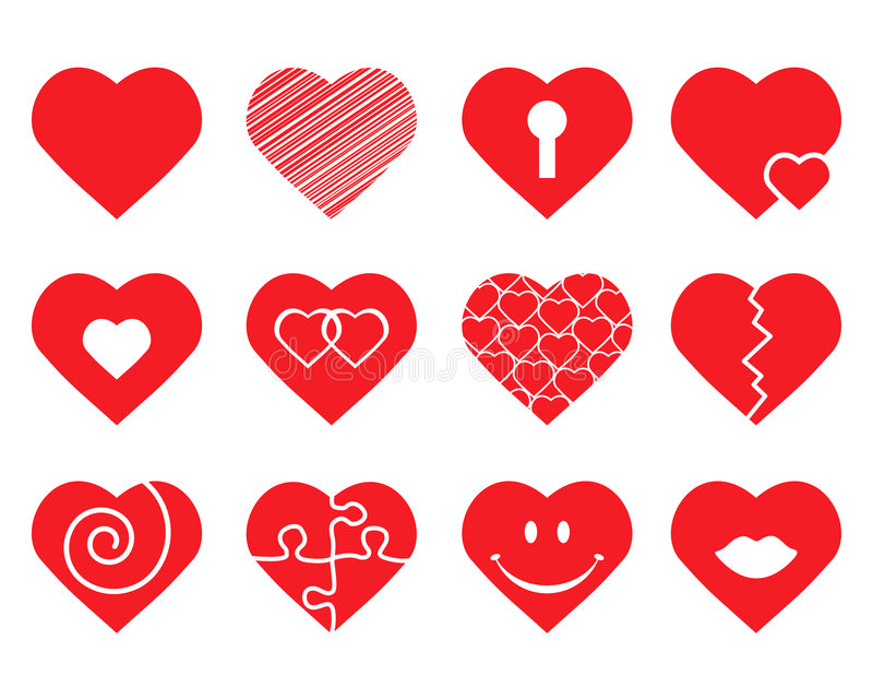 Download Set of hearts stock vector. Image of february, lock, patterned - 6159003