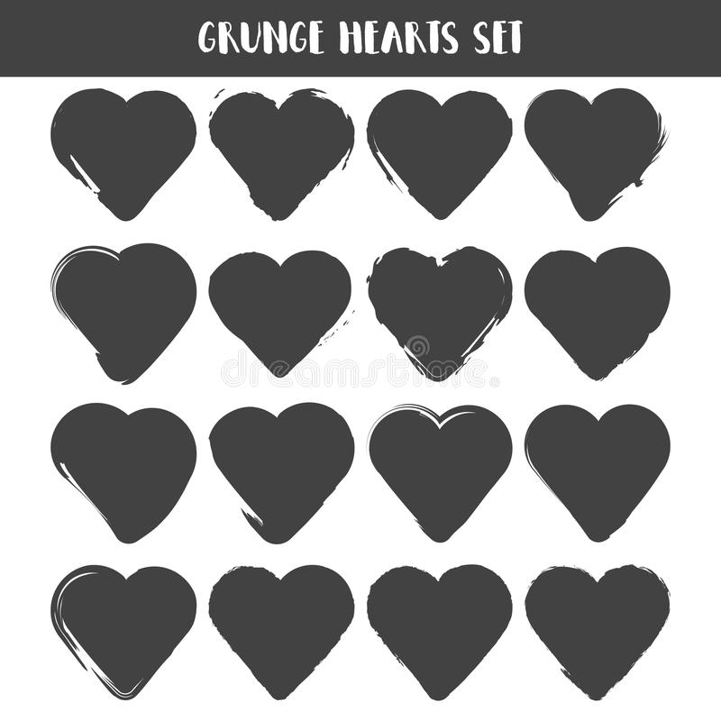 Set of Hearts . Grunge stamps collection. love Shapes for your design. Distressed symbols. Textured Valentines Day signs. Vector royalty free illustration