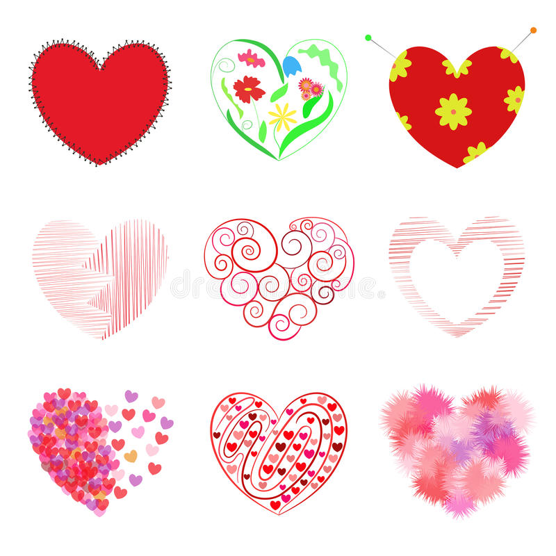 Set of 9 hearts: includes stitched heart, ornament in the shape.Vector illustration. Set of 9 hearts: includes stitched heart, ornament in the shape of a heart royalty free illustration
