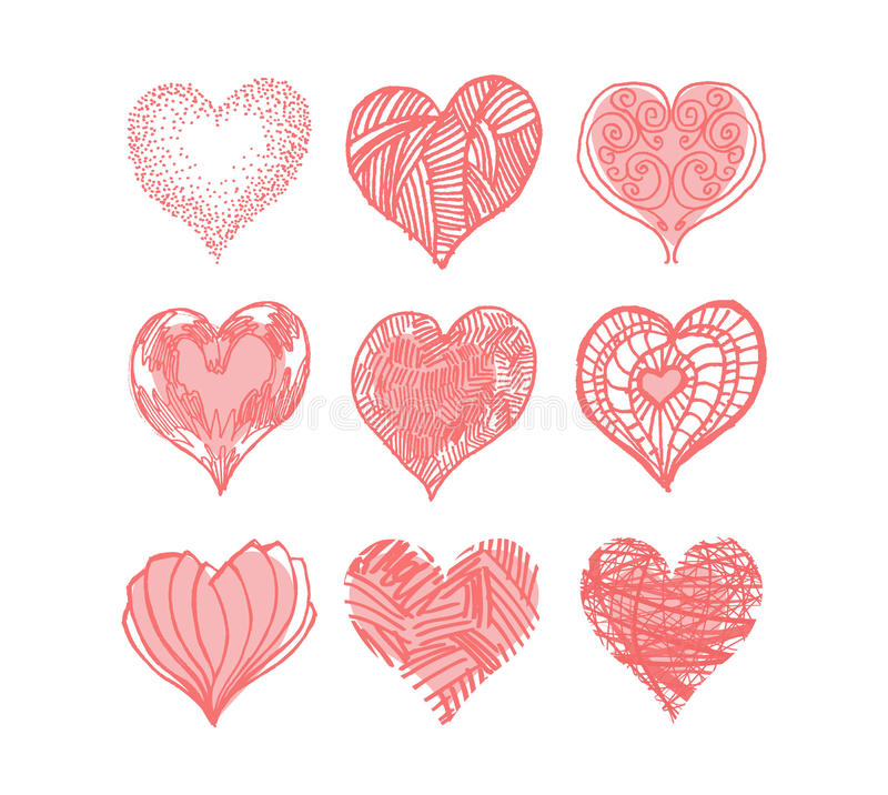 Download Set Of Hearts stock vector. Image of image, grunge, illustration - 33142598