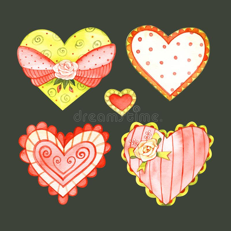 A set of hearts for love design. Watercolor hearts for St Valentine`s day card or wedding anniversary decoration royalty free illustration