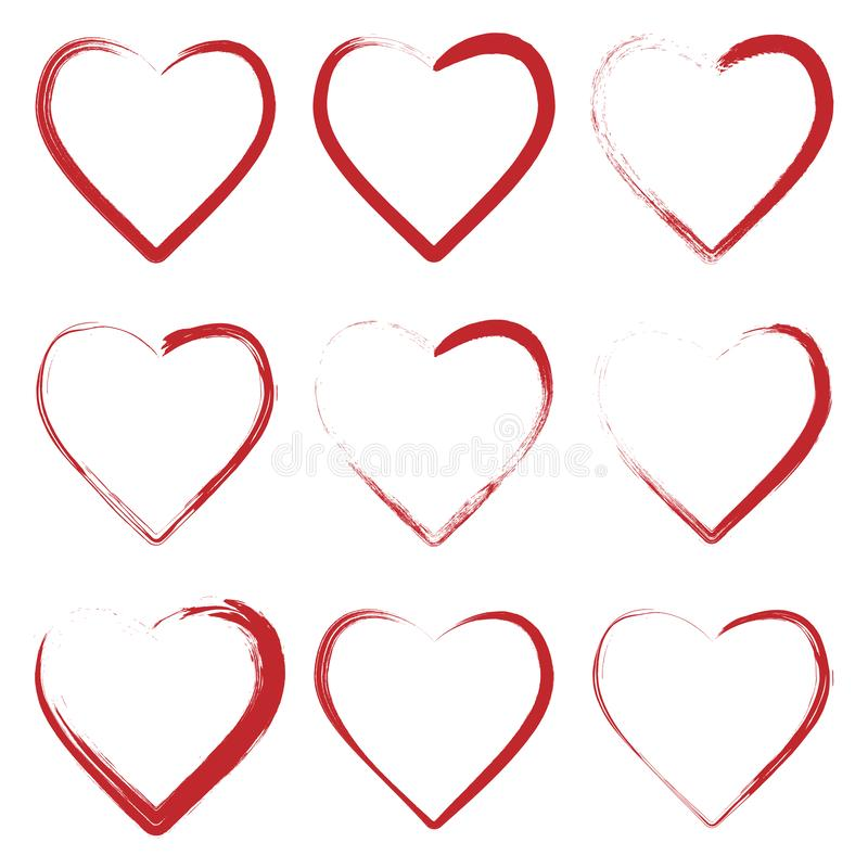 Set of hearts made with grunge brush royalty free illustration
