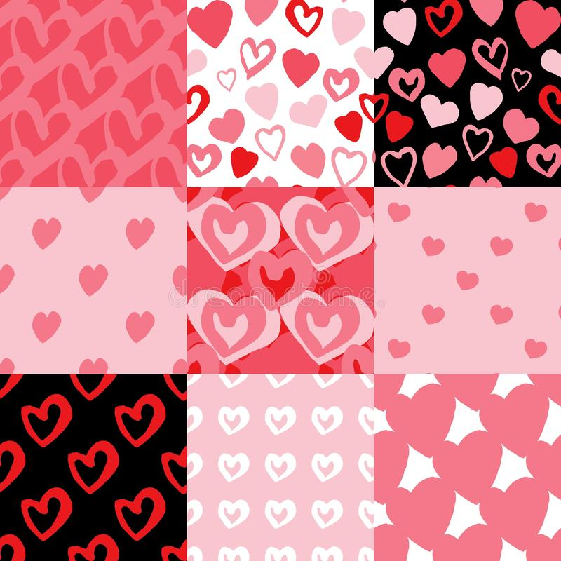 Set of hearts pattern. Hand drawn ornament, texture on black background. stock illustration