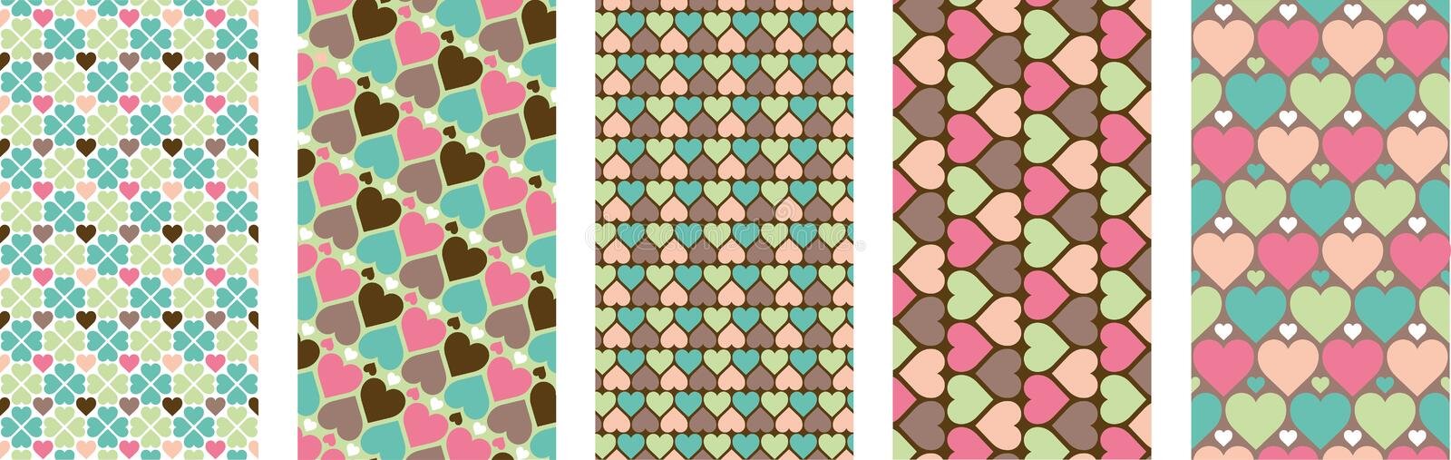 Set of hearts pattern for mobile, social media and websites. Valentines day. Vector pack. Set of hearts pattern for mobile, social media and websites stock illustration