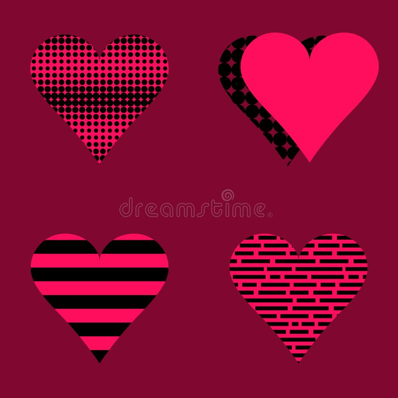 Set of hearts pink and black. Different textures, for valentine`s day decoration vector illustration