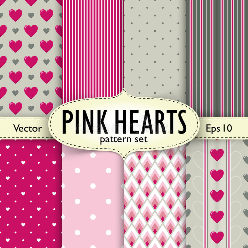 Set of hearts, stripes and dots seamless patterns stock photos
