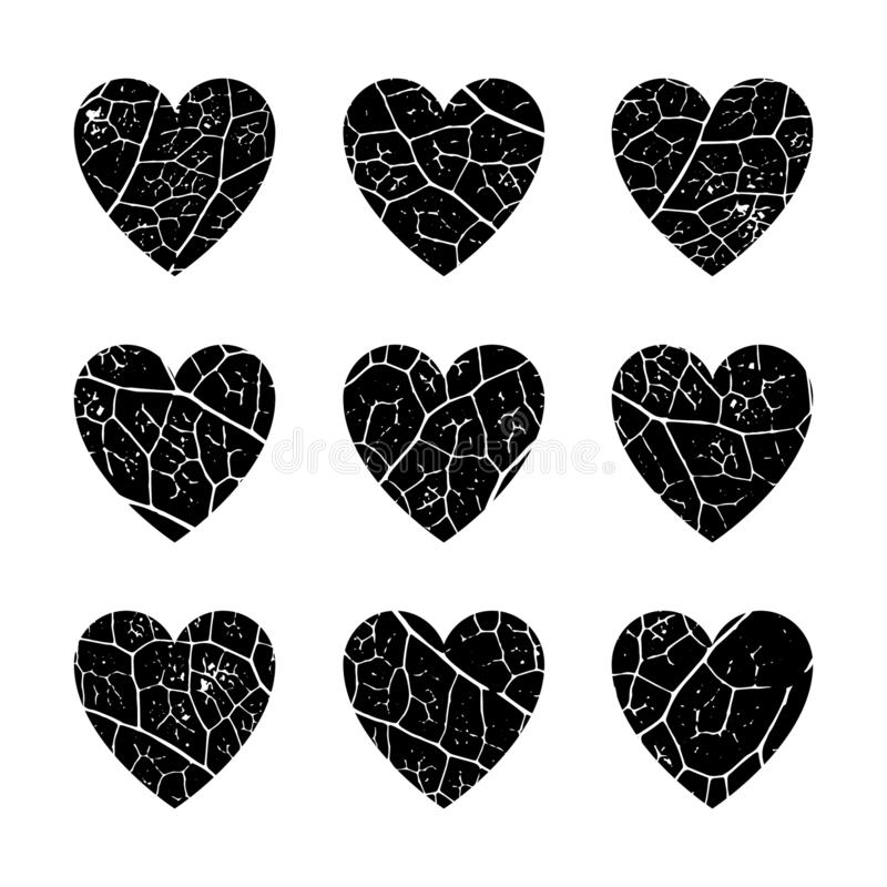 Set of 9 hearts with the texture of vegetable leaf veins. Monochrome dark grunge hearts of regular symmetrical shape with texture filling. Overlay pattern stock illustration