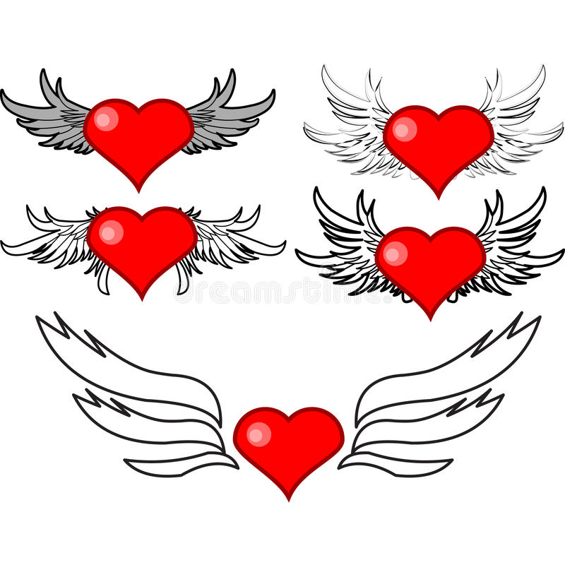 Set Of Hearts With Wings Stock Photo