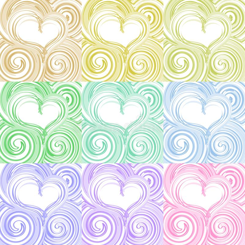 Set of hearty beautiful romantic background with swirling stripe. S of different color shades royalty free illustration